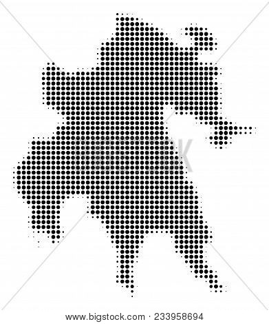 Peloponnese Half-island Map Halftone Vector Pictogram. Illustration Style Is Dotted Iconic Peloponne