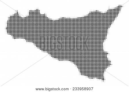 Sicilia Map Halftone Vector Pictograph. Illustration Style Is Dotted Iconic Sicilia Map Symbol On A