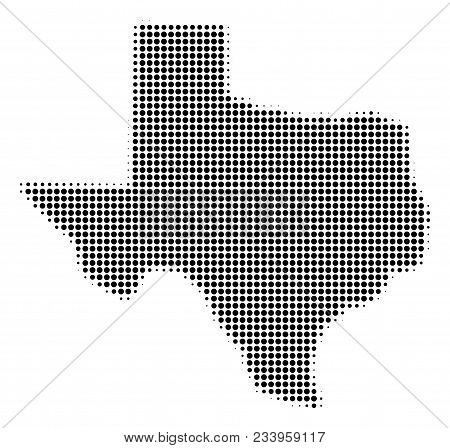 Texas Map Halftone Vector Pictograph. Illustration Style Is Dotted Iconic Texas Map Symbol On A Whit