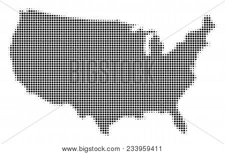 Usa Map Halftone Vector Icon. Illustration Style Is Dotted Iconic Usa Map Symbol On A White Backgrou