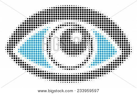 Vision Halftone Vector Icon. Illustration Style Is Dotted Iconic Vision Symbol On A White Background