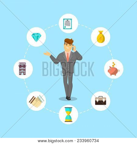 Successful Businessman Speaking On Phone. Standing Young Man In Business Suit And Tie Talking About