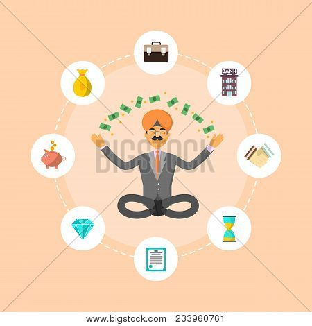 Indian Businessman Meditation In Lotus Pose And Think About Investing. Smart Investment Opportunity