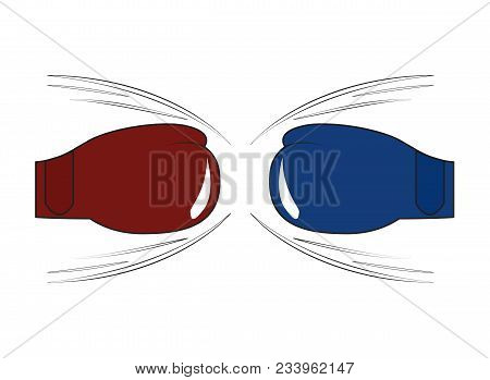 Boxing Gloves Of Opponents Before Punch. Vector Illustration