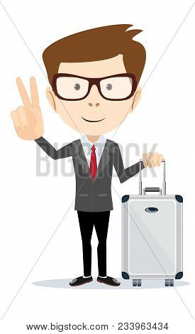 Man Holding Modern Suitcase With Wheels And Shows A Sign Of Victory . Flat Style. Stock Vector Illus