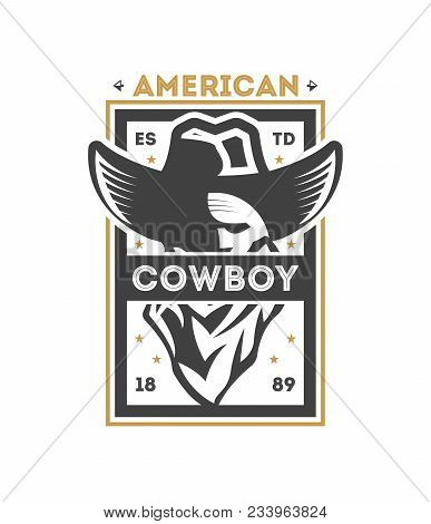 American Cowboy Vintage Isolated Label. American Rodeo Event Badge, Authentic Cowboy Show Symbolillu