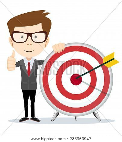 Funny Cartoon Business Man Shows A Sign Of Victory And Holding A Dart Board With A Direct Hit On Tar