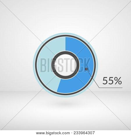 55 Percent Pie Chart Isolated Symbol. Percentage Vector Infographics. Circle Diagram Sign. Business