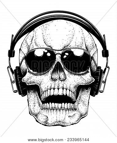 Vector Human Skull With Aviator Sunglasses Listening To Music In Headphones. Dotwork Hand Drawn Illu