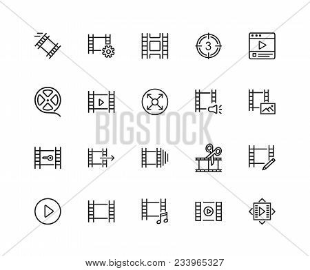 Filmstrip Icons. Set Of Twenty Line Icons. Film Reel, Editing, Multimedia. Filming Concept. Vector I