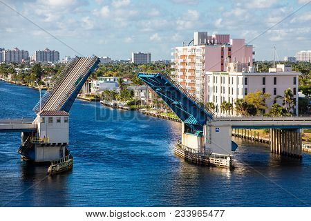 The Blue Water Of Intracoastal Under Drawbridge In Fort Lauderdale