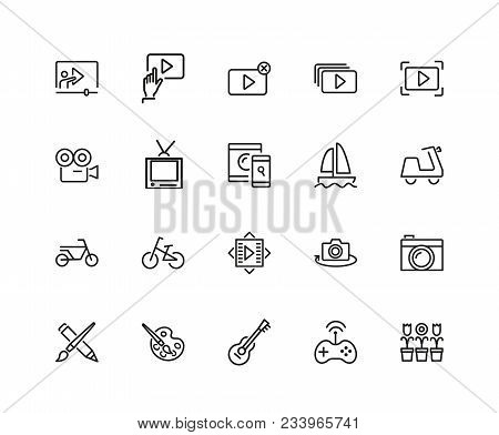 Hobby Icons. Set Of Twenty Line Icons. Webinar, Music, Art. Hobby Concept. Vector Illustration Can B
