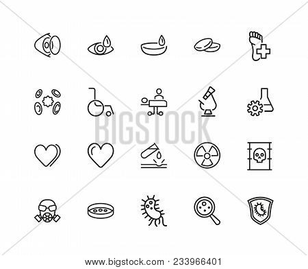 Medical Help Icons. Set Of Twenty Line Icons. Laboratory, Heart Decease, Virus. Medicine Concept. Ve