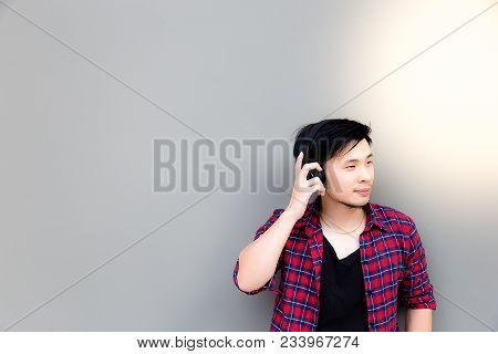 Portrait Charming Handsome Young Asia Guy: Attractive Handsome Man Is Feeling Relaxed And Enjoying L