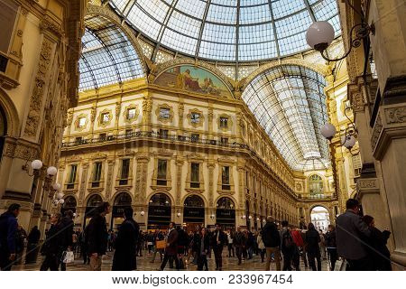 Milan, (milano) Italy - February 17 2017: Crowd Inside Galleria Vittorio Emanuele Ii.architectural D