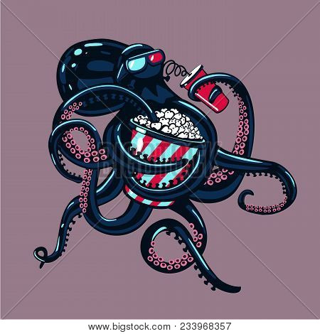 Monster Cinema. Cartoon Octopus Is Watching Movies On 3d Glasses And Eating Popcorn. Humorous Illust