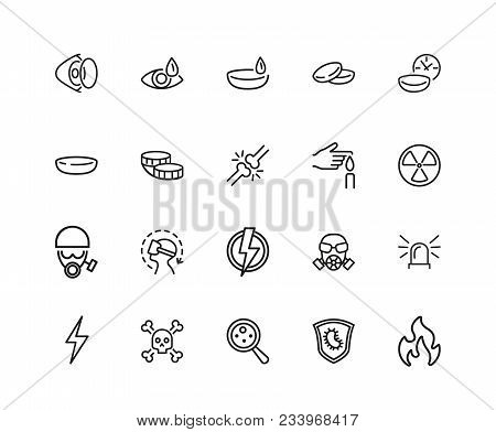 Protection Icons. Set Of Twenty Line Icons. Contact Lens, Respirator, Radiation Hazard. Caution Conc