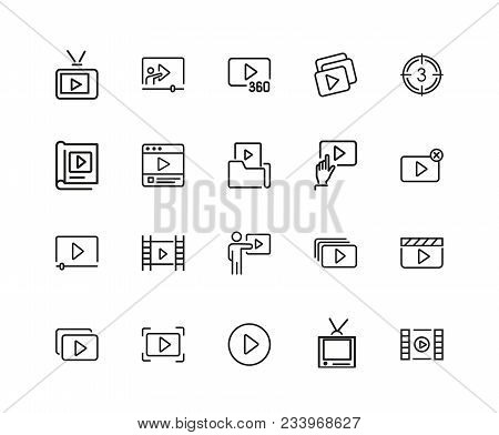 Video Content Icons. Set Of Twenty Line Icons. Player, Screen, Tv. Video Content Concept. Vector Ill