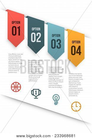Simple Clean Vector Infographics Layout With Tags Hanging From A Cut Paper. Sample Text And Icons. T