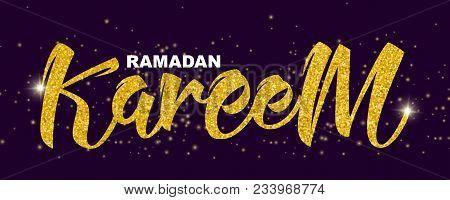 Ramadan Kareem Handwritten Lettering, Made Of Gold Glitter On Dark Purple Background With Sparkles,