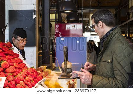 Madrid, Spain -  28 March, 2018: Mercado San Miguel Market With Food Courts And Delicacies Is A Popu
