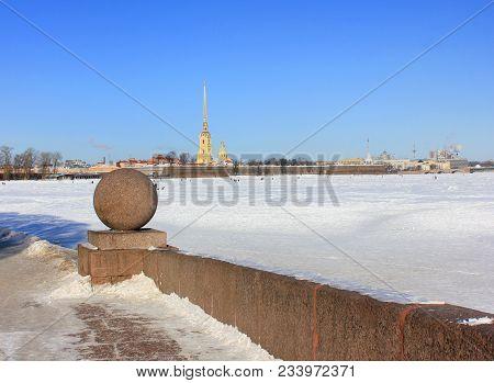 Peter And Paul Fortress Winter View Across Neva River In St. Petersburg, Russia. Historic Original C