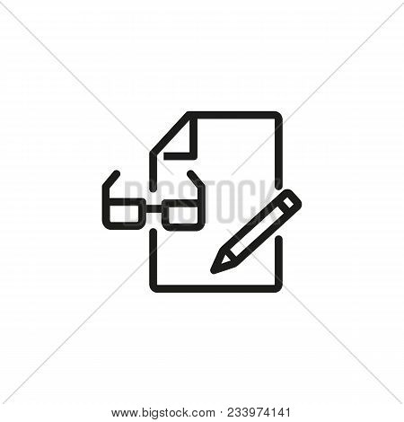 Line Icon Of Document, Glasses And Pen. Document Edit, Text Editor, File. Mobile Application Concept