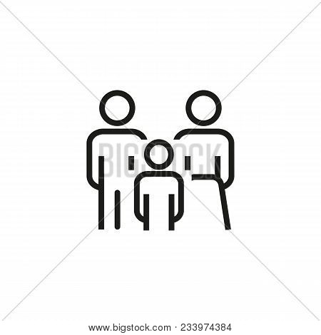 Line Icon Of Family. Family Law, Insurance, Protection. Family Concept. Can Be Used For Topics Like