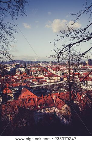 Europe, Slovenia, Ljubljana City. Photo Depicting A View From The Castle Hill To The Downtown City O
