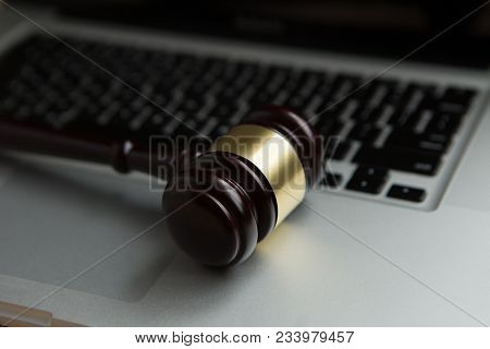 Cyber Law Or Crime Internet Concept. Judges Gavel On Keyboard Laptop