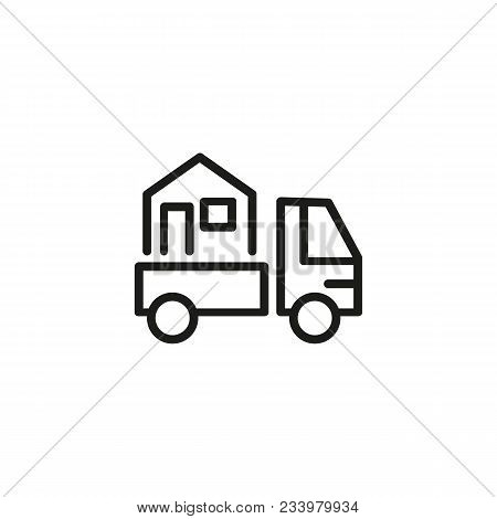 Line Icon Of Truck Carrying House. Moving Home, Relocation, Courier. Delivery Concept. Can Be Used F