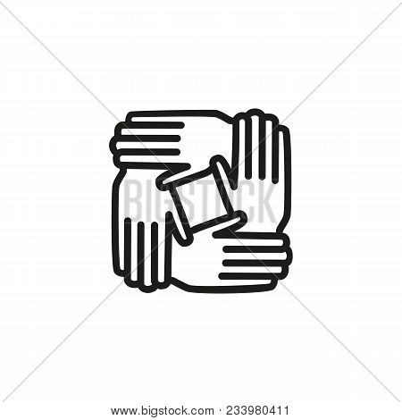 Line Icon Of Joined Hands. Teamwork, Community, Support. Team Concept. Can Be Used For Topics Like B