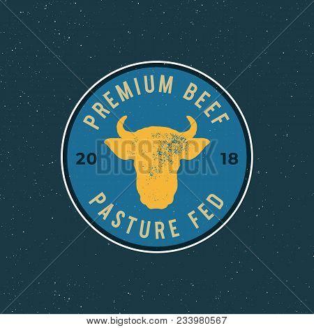 Premium Fresh Beef Label. Retro Styled Meat Shop Emblem, Badge, Design Elements, Logotype Template.