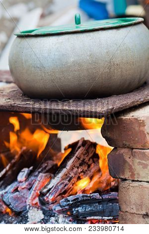 Outdoors Cooked Stew Boiling On The Fire