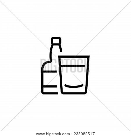 Icon Of Rum Bottle. Beverage, Tequila, Drink. Strong Alcohol Concept. Can Be Used For Topics Like Pa
