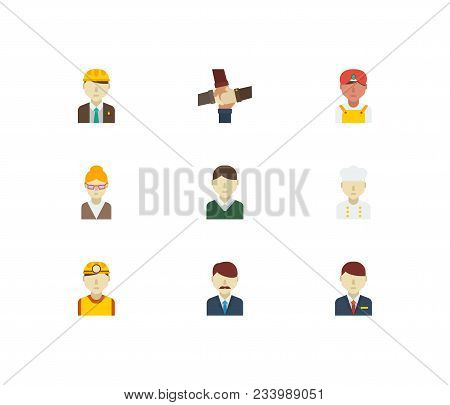 Professional Icons Set. Teamwork And Professional Icons With Male Worker, Indian Worker And Safety W