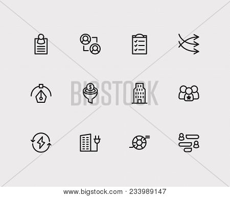 Economy Icons Set. Business Marketing And Economy Icons With Graphic Design, Compliance And Conversi
