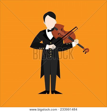 Flat Violinist Man Character Playing Music. Musican Playing On Musical Instruments. Violin Player.