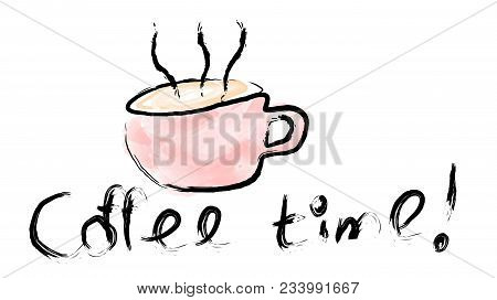 A Pink Cup Of Invigorating Tasty Hot Brown Coffee Painted By Hand With Paint With A Beautiful Steam