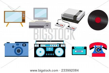 Set Of Old Retro Vintage Hipster Technology, Electronics: Computer, Audio Recorder, Game Console, Au