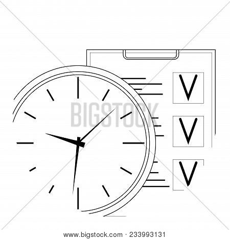 Plan Time And Work Line Art Icon. Vector Management Business Time, Optimization Checklist And Time L