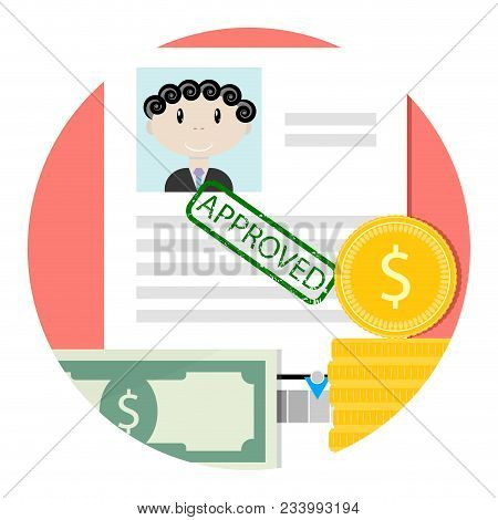 Icon Of Approved Loan Or Credit. Mortgage And Loan, Credit Approve, Mortgage Concept And Home Loan I