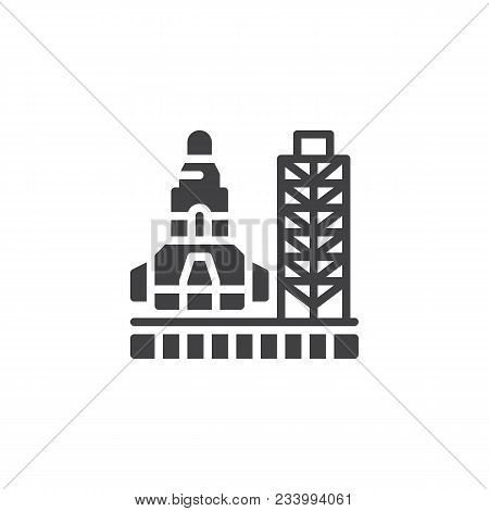 Space Launch System Vector Icon. Filled Flat Sign For Mobile Concept And Web Design. Spacecraft Laun
