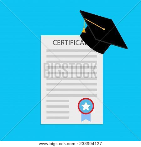 Education Certificate And Diploma. Certificate Of Education Award, Success Document Graduation, Vect