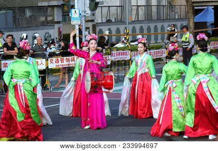 Korean Dancers Perform At The Lantern Festival