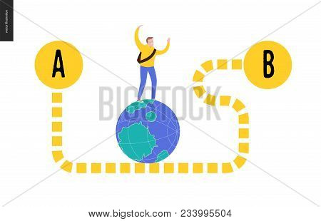 From Point A To Point B Problem, A Transportation Concept - A Young Male Traveller Walking On The Gl