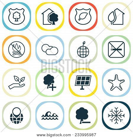Ecology Icons Set With Solar Energy, Nature, Cloudy Weather And Other World Ecology Elements. Isolat