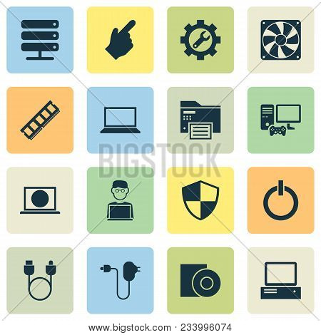Gadget Icons Set With Computer, Charger, Hardware And Other Usb Elements. Isolated Vector Illustrati
