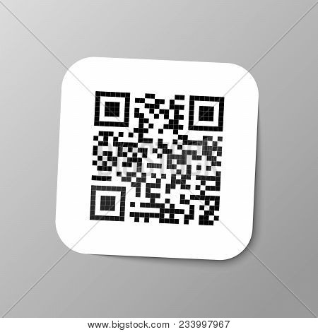 Typical Realistic Qr Barcode Sticker With Shadow On Gray