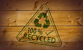 100 Percent Recycled stamp on wooden background poster